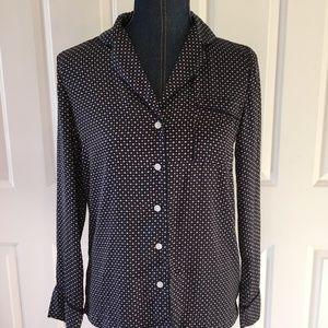 Aeri womens sleepwear sleep shirt blue polka dot